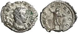"Ancient Coins - Valerian I AR Antoninianus ""ORIENS AVGG Sol, Holding Globe, Raising Hand"""