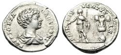 "Ancient Coins - Geta Silver Denarius ""PRINC IVVENTVTIS Trophy"" Rome 200-202 AD RIC 18 VF"