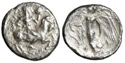 """Ancient Coins - Sicily, Himera AR Hemidrachm """"Pan Riding Goat, Blowing Conch / Nike"""" VF"""