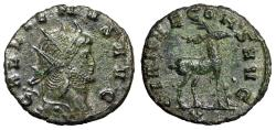 "Ancient Coins - Gallienus AE Antoninianus ""DIANAE CONS AVG Stag, Right, X"" Rome RIC 179 About EF"