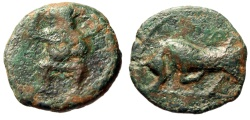 "Ancient Coins - Spain (Balearic Islands) Ebusus AE17 ""Bes (Kaberios) Facing & Bull Butting"" Rare"