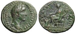 "Ancient Coins - Antoninus Pius AE As ""Annona Seated, Holding Harvest"" Rome RIC 880  VF"