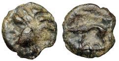 "Ancient Coins - Celtic, Northeast Gaul, Leuci Tribe Potin Unit ""Head & Boar, Two Semicircles"""