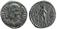 """Ancient Coins - Vetranio AE Centenionalis """"CONCORDIA MILITVM Holding Labarums"""" Siscia RIC 274"""