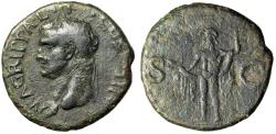 "Ancient Coins - Agrippa (Marcus Vipsanius Agrippa) AE As ""His Portrait & Neptune"" Rome 38 AD"