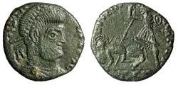 """Ancient Coins - Barbarous Imitative Constantius II """"Soldier Spearing Horse Rider"""" Thessalonica"""