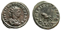 "Ancient Coins - Probus AE Antoninianus ""Lion Walking, Head of Ox"" Dated 278 AD RIC 611 Scarce"