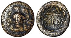 """Ancient Coins - Phokis Federal Coinage AE17 """"Facing Athena & Phi Within Wreath"""" Fine"""
