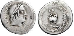 "Ancient Coins - MN Fonteius CF AR Denarius ""Apollo Veiovis & Figure on Goat, Wreath"" 85 BC"