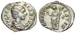 """Ancient Coins - Julia Soaemias (Mother of Elagabalus) AR Denarius """"Venus Caelestis"""" aEF"""