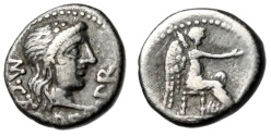 """Ancient Coins - M Porcius Cato AR Quinarius """"Liber & Victory Seated """"African Mint 47-46 BC gF"""