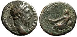 "Ancient Coins - Marcus Aurelius AE As ""River god Tiber Reclining, Boat"" Rome 174-175 AD RIC 1142"