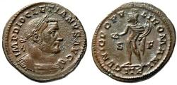 """Ancient Coins - Diocletian AE Follis """"Genius, ITR Exergue"""" Trier 302-303 AD RIC 524a aEF"""
