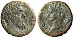 "Ancient Coins - Septimius Severus AE23 ""Portrait of Tyche, Veiled; Cornucopiae"" Heliopolis gVF"