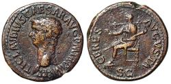"Ancient Coins - Claudius I AE Dupondius ""CERES AVGVSTA Cerea Seated"" RIC 110 Scarce Choice VF"