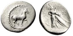 "Ancient Coins - Thessaly, Pharkadon AR Obol ""Horse Trotting & Athena With Shield""Good Fine"