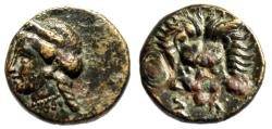 "Ancient Coins - Ionia, Samos AE12 ""Hera Left & Lion Scalp Facing"" 5th-4th Century BC VF"