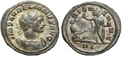 "Ancient Coins - Aurelian Silvered Antoninianus ""ORIENS AVG Sol, Reclining Captive Hand Out"" Rare"