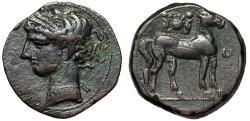 "Ancient Coins - Zeugitania, Carthage AE27 Trishekel ""Tanit & Horse, Sun-Disk, Ouraei"" Good VF"