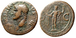 """Ancient Coins - Agrippa AE As """"Neptune Standing, Dolphin & Trident"""" Rome 38AD RIC 58 gF"""
