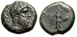 """Ancient Coins - Sicily, Syracuse AE Hemidrachm """"Zeus Eleutherios & Thunderbolt, Eagle"""" nEF"""