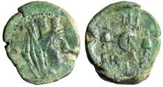 "Ancient Coins - Phoenicia, Berytus AE21 ""Tyche & Dolphin Entwined Trident, Dioscuri Caps"" Rare"
