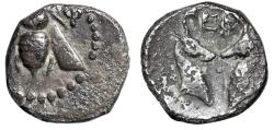 """Ancient Coins - Ionia, Ephesos (Ephesus) AR Diobol """"Bee & Two Confronted Stag Heads"""" Good Fine"""