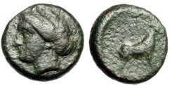 "Ancient Coins - Lesbos, Pyrrha AE17 ""Nymph Left & Goat Standing Right"" Extremely Rare"