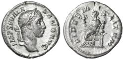 "Ancient Coins - Severus Alexander AR Denarius ""FIDES MILITVM Fides Seated"" Rome 231 AD RIC 193"