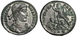 """Ancient Coins - Constantius II Silvered Centenionalis """"Soldier Spearing Rider"""" Thessalonica gVF"""