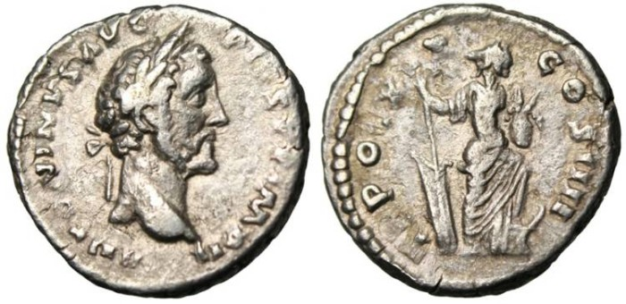 """Ancient Coins - Antoninus Pius AR Denarius """"Annona"""" VF RIC 260"""