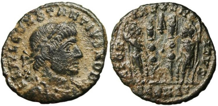"Ancient Coins - Constantius II, AE3 ""Soldiers Arrow Head / Tree Symbol"" Arles RIC 389"