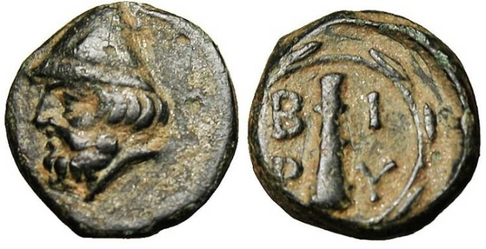 "Ancient Coins - Troas, Birytis AE 11 ""Kabiros & Club in Wreath"" VF"