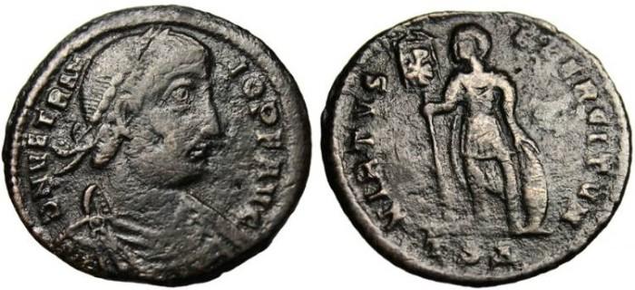 """Ancient Coins - Vetranio, AE Centenionalis """"VIRTVS EXERCITVM"""" Thessalonica RIC 126 Rare"""