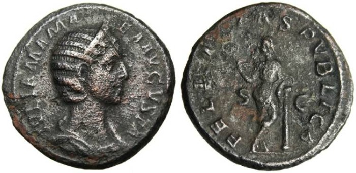 "Ancient Coins - Julia Mamaea AE As ""Felicitas on Column"" RIC 677 VF Scarce"
