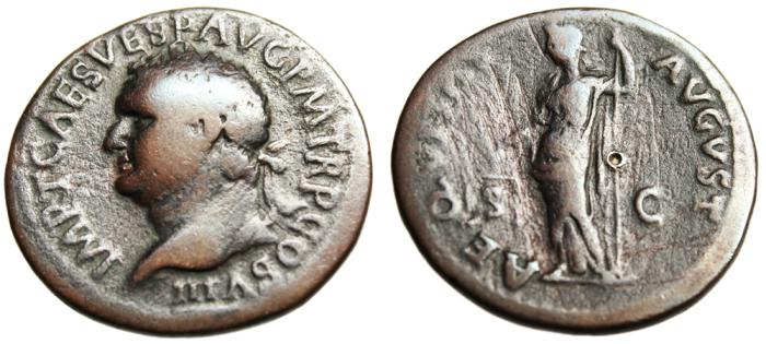 "Ancient Coins - Titus AE As ""Aequitas With Scales"" Rome 80AD RIC 215"