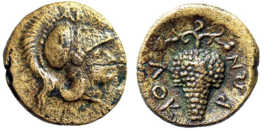 "Ancient Coins - Lokris Lokris Opuntii AE14 ""Athena, AP Above Helmet & Grape Cluster"" Very Rare"