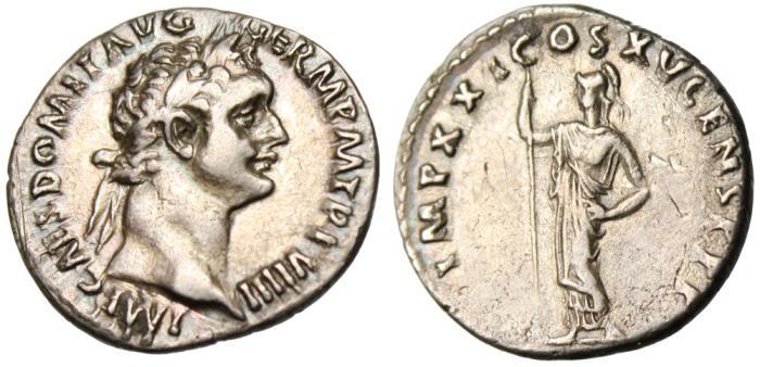 "Ancient Coins - Domitian Silver AR Denarius ""Minerva Standing"" RIC 692 Rome Near EF"
