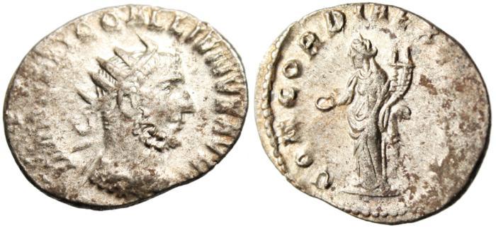 "Ancient Coins - Gallienus Silver AR Ant. ""Concordia"" Rome RIC 132 Scarcer"