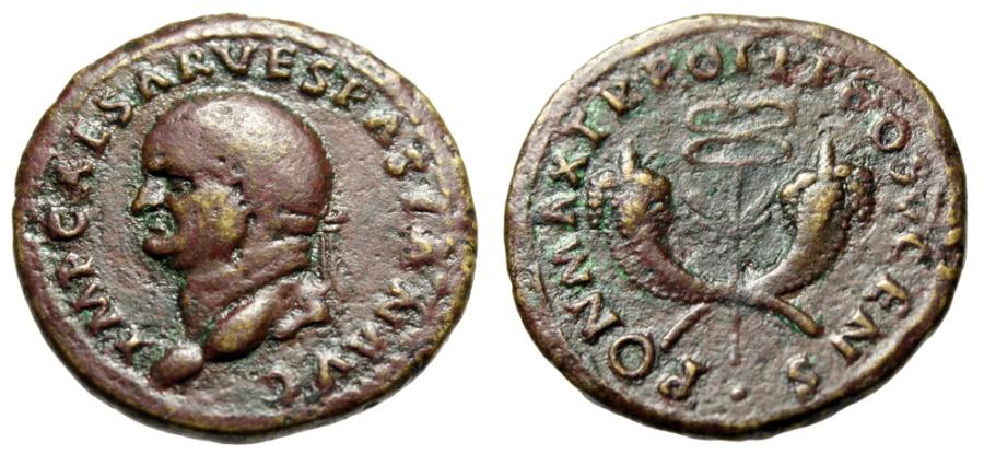 """Ancient Coins - Vespasian Dupondius """"Winged Caduceus, Crossed Cornucopiae"""" RIC 757 Scarce nVF"""
