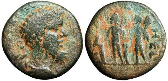 "Ancient Coins - Septimius Severus, AE23 ""Two Hercules"" Coele-Syria, Heliopolis"