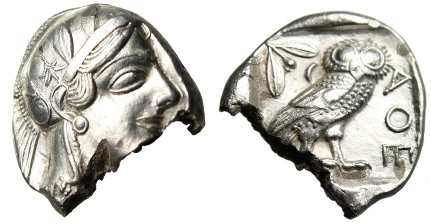 """Ancient Coins - Attica, Athens Silver Tetradrachm """"Athena & Owl"""" EF But Damaged Old Style"""
