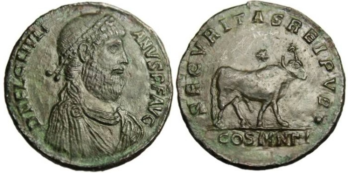 "Ancient Coins - Julian II,  AE1 ""Apis Bull"" Constantinople, Tooled"