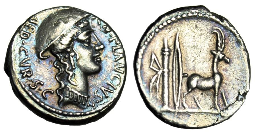 """Ancient Coins - CN Plancius AR Denarius """"Causia & Cretan Goat, Bow Quiver"""" gVF Iridescent Tone"""