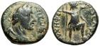 """Ancient Coins - Antoninus Pius AE18 """"Tyche With Cornucopiae"""" Arabia Philadelphia Rare"""