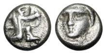 "Ancient Coins - Persia, Achaemenid Empire AR Tetartemorion ""Kneeling, Bow & Facing Female"" Rare"