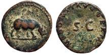 "Ancient Coins - Domitian AE Quadrans ""Rhinoceros (Rhino) Charging Right"" 84-85 AD RIC 249"