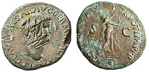 "Ancient Coins - Nero AE AS Damnatio Memoriae ""Playing Lyre"" Extremely Rare Damnation of Memory"