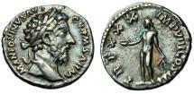 """Ancient Coins - Marcus Aurelius AR Denarius """"Bonus Eventus"""" RIC 353 Good VF Rainbow Iridescence"""