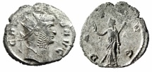 """Ancient Coins - Gallienus Silvered Antoninianus """"PAX AVG Peace"""" Siscia RIC 499 About VF"""